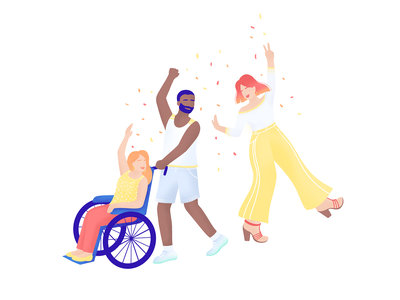 🎉 Celebrating your Accomplishments - SHIFT management app procreate solidarity wheelchair inclusive teamwork team growth celebrate work digital branding management woman character storytelling illustration
