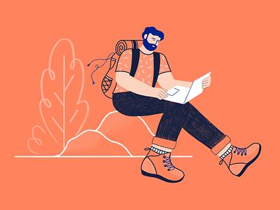 🌏💻Digital Nomad procreate adventure blog freelance backpacker travel abroad work nomad digital branding character storytelling illustration
