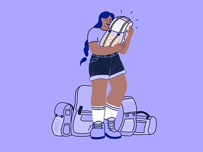🎒The best Backpack bag backpack backpacker advice blog travel procreate branding woman character storytelling illustration