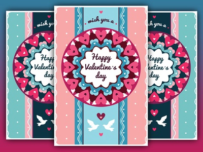 Valentine greeting cards by olgameola dribbble stylish and colorful valentine greeting cards in the original style 5 different designs 2 color themes for every card m4hsunfo
