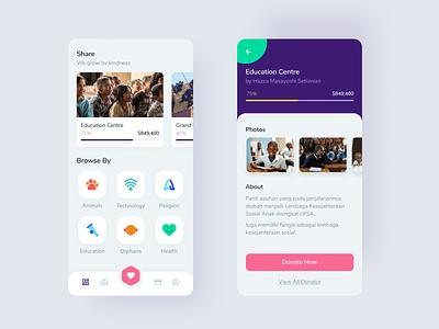 Charity mobile ui design