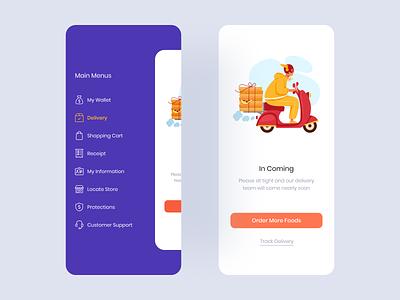 Side Menu side menu mobile app food navigation ui design