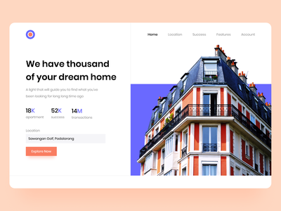 Lentera Header apartment house header ui design website design