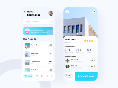 Golekos Find House app booking ui design mobile house