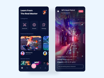 Game Streamer App video mobile apps ui design streaming game