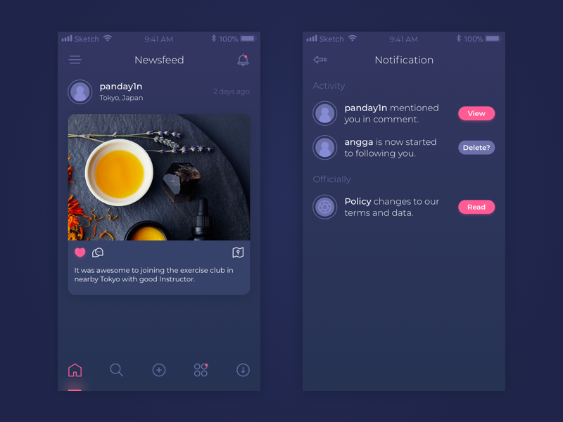 Moments elegant pink dark newsfeed ui design mobile