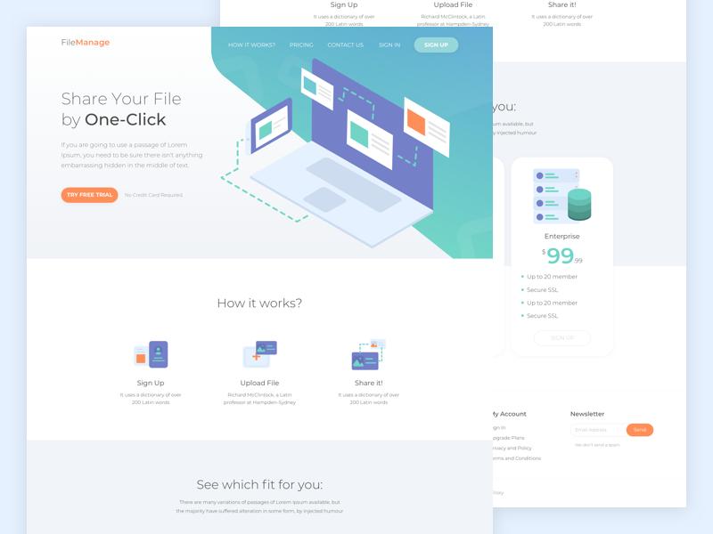 FileManage Website Design landing page saas file manager technology ui design icons illustration website design