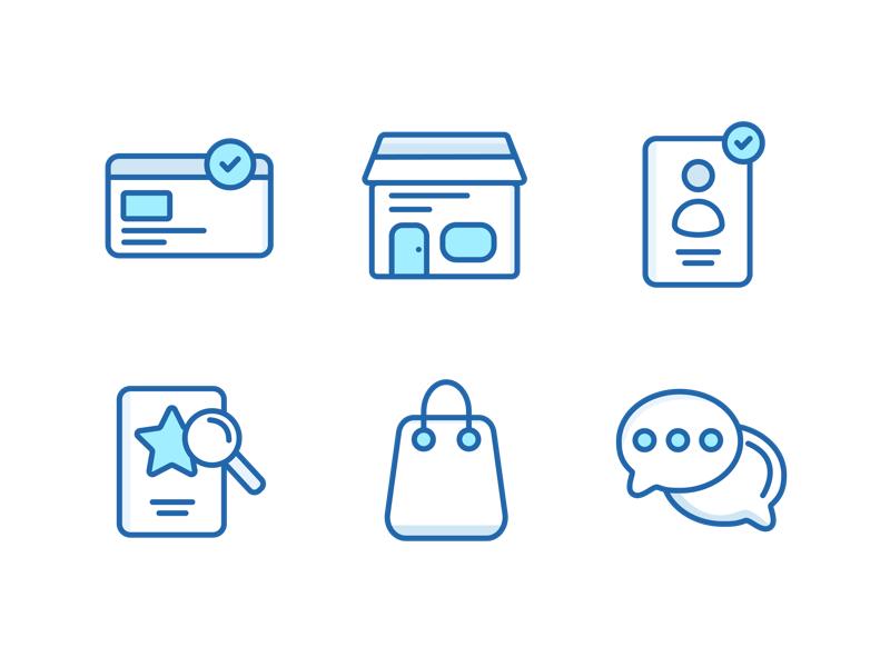 E-Commerce Icon Set ui design store message cart design icon ecommerce