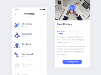 Educast - Course Mobile App education video wireframe icon app mobile course ux ui