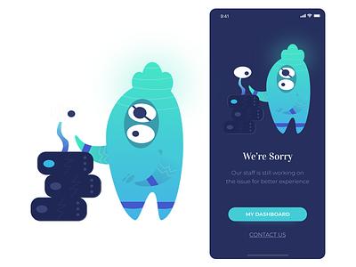 Server Maintanance design app wireframe angga risky mobile illustration ui design