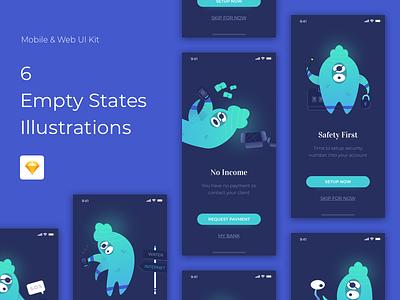 Empty States Illustrations app icon ui angga risky wireframe illustration mobile ui design