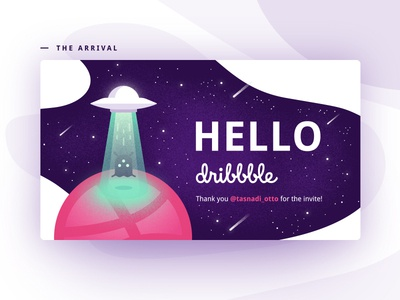 Hello Dribbble! ufo dribbble illustration first shot planet space alien hello debut