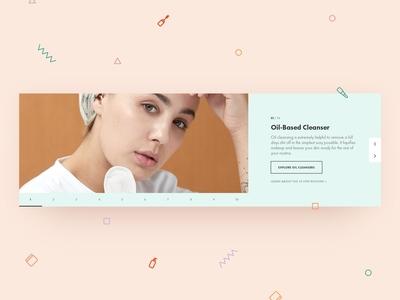 Seoul Kool Slider routine steps slider icons pastel memphis colorful web ecommerce skincare cosmetics beauty