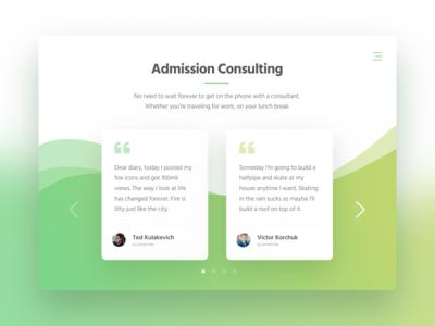 Testimonials block pattern ux ui client quote green design website web section testimonials