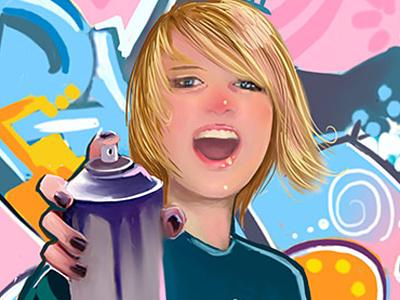 Spray smile painting graffiti murales girl magazine spray illustration
