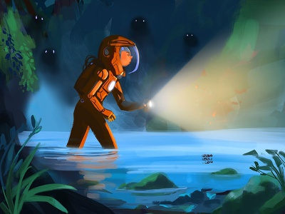 Explorer sci fi space light water cave monster astronaut