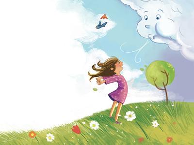 Wind illustration children fun girl wind