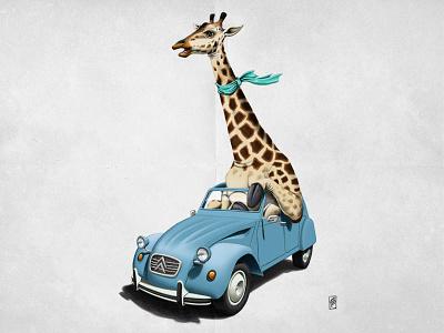 Riding High giraffe animal rob snow animal behaviour car blue mammal fun humour driving french 2cv