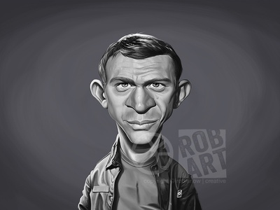 Steve McQueen famous portrait cinema movies film the great escape star hollywood actor steve mcqueen celebrity caricature