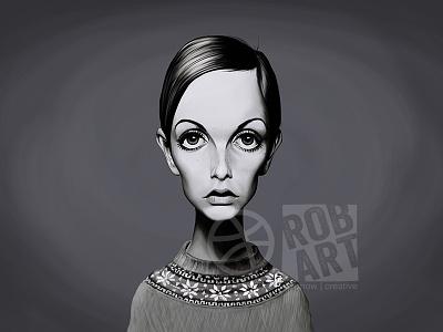 Twiggy illustration portrait super model vintage sixties celebrity caricature fashion model twiggy