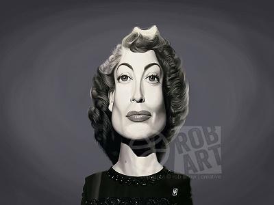 Joan Crawford vintage portrait illustration movies film cinema female hollywood celebrity caricature actress joan crawford