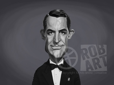 Cary Grant illustration hollywood star portrait cinema film movies celebrity caricature male actor cary grant
