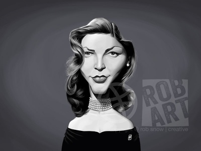 Lauren Bacall vintage portrait illustration movies film cinema female hollywood celebrity caricature actress lauren bacall