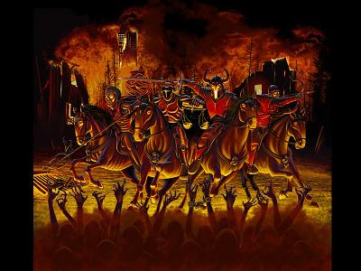 Apocalypse Beer Label digital art illustration beer bottle hell four horsemen apocalypse label beer