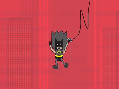 Gamer Batman nerdy illustration batman