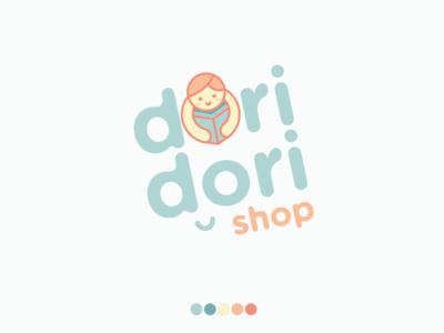 Dori Dori Shop Logo cute retail child theme shop learning childrens branding design logo illustration