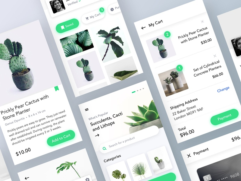 Plants Marketplace UI 3 minimal leftaligned typography checkout cart plants design clean app ux ui marketplace gallery