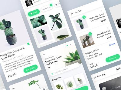 Plants Marketplace UI 3 minimal leftaligned typography checkout cart plants design clean app ux ui marketplace gallery