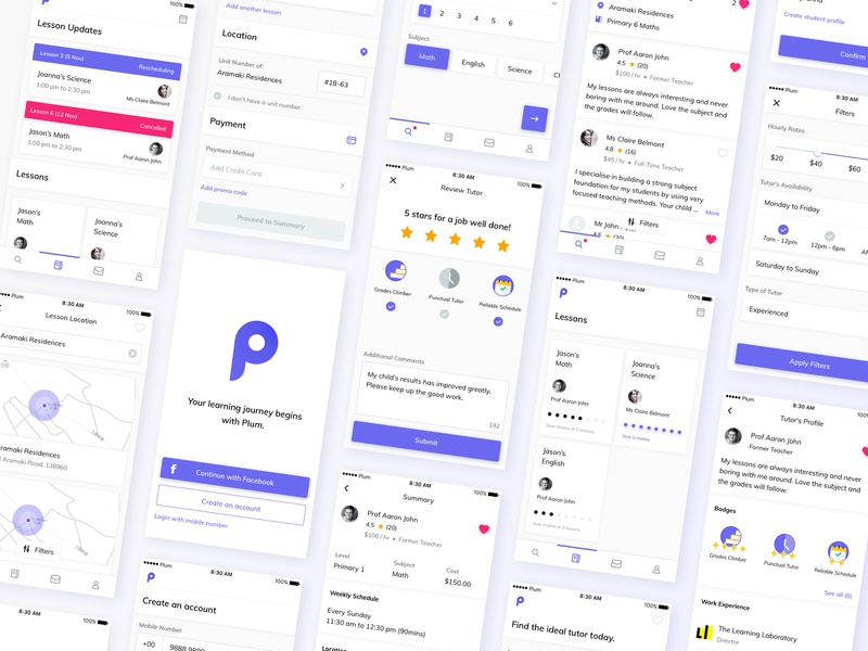 Plum iOS UI Kit gallery lights leftalign left leftaligned design minimal clean app ux ui