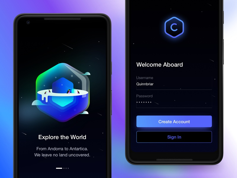 Travel The World neon night dark ux ui