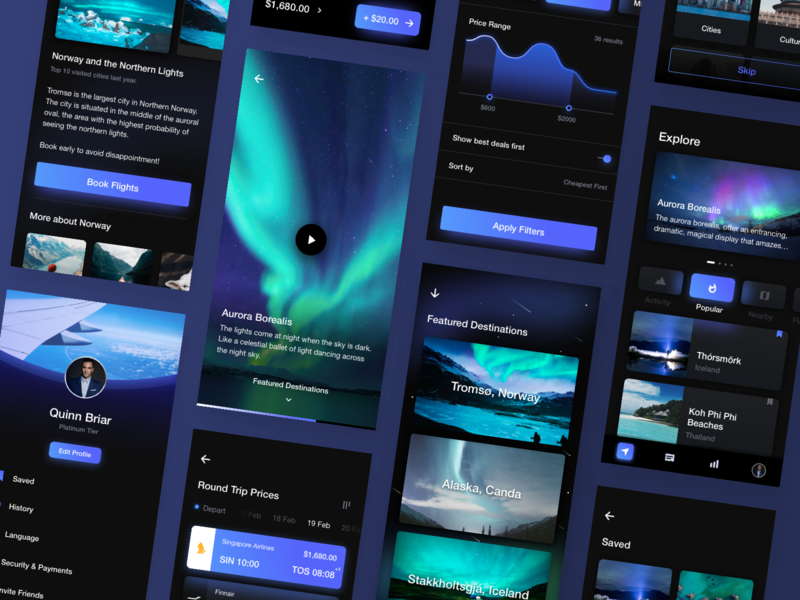 Cosmos UI Kit discover lights minimalism clean minimal black dark mode neon energy plane flight travel dark night ux ui
