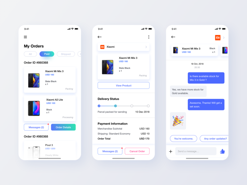 Light themed UI mobile e commerce product leftaligned interface chat cart shop ecommerce marketplace minimalism white left leftalign design app minimal clean ux ui