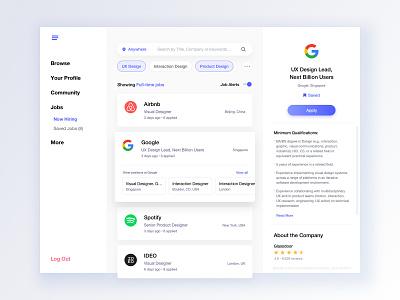 Job Search ecommerce white interface leftalign marketplace minimalism light dashboard gallery left leftaligned design ux app minimal clean ui