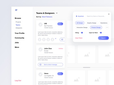 Team Search minimalism leftalign white interface leftaligned left app ux minimal clean ui