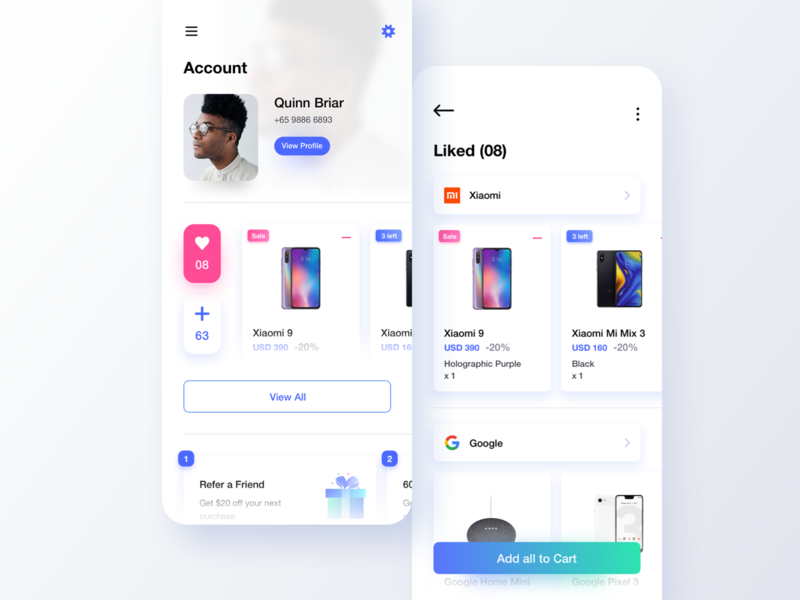 Light Themed UI 3 white gallery design minimalism lights interface leftalign marketplace leftaligned app ux minimal clean ui