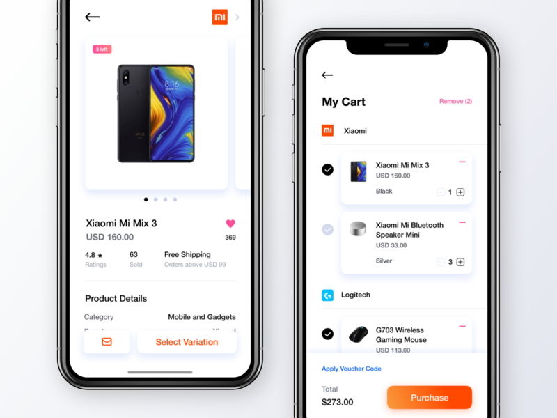 Product Details and Check Out cart ecommerce lights white app design minimalism left interface marketplace leftalign leftaligned ux minimal clean ui