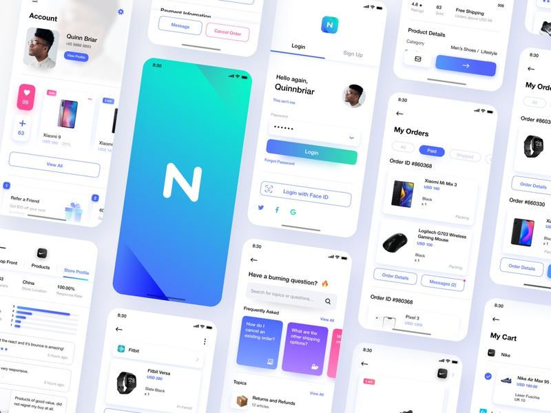 Neura UI Kit ecommerce cart product page ux product mobile product design white minimalism interface gallery marketplace leftaligned design app minimal clean ui