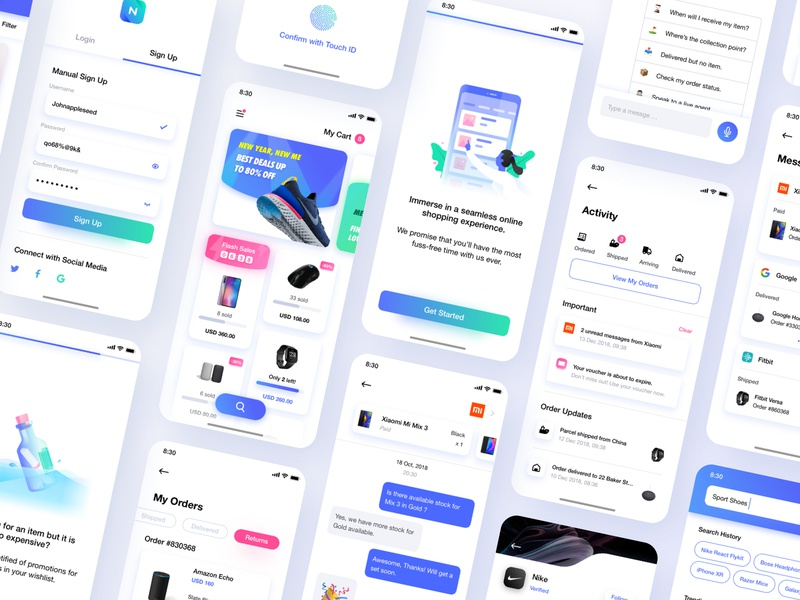 Neura UI Kit cart ecommerce interface lights white illustration minimalism gallery marketplace left leftaligned design app ux minimal clean ui