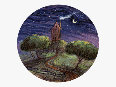 house on the hill stars night sketch road tree swing fence hill paintings moon smoke ipad procreate painting abstract landscape illustration home