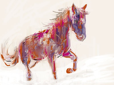 RunDocRun photoshop painting abstract snow winter horse