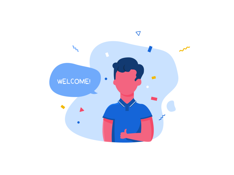 Welcome! app sign in login geometric thumb up thumb party welcome illustration ui uidesign