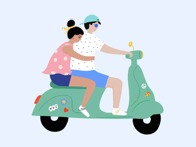 Scooter Lovers character flat lovers couple procreate illustration scooter