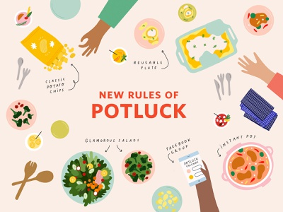 Potluck hands aerial view typography hand lettering chips instant pot salad food editorial apartment therapy potluck illustration