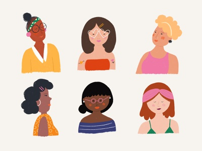 Gal Pals character design hand drawn women ladies illustration