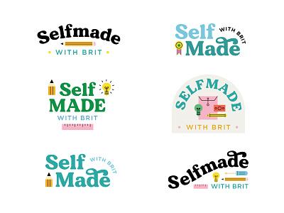 Selfmade Branding wordmark vector logo lettering illustration icons flat branding brand identity