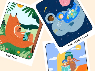 Tarot Card Storybook Characters hand drawn kids tarot cards space forest childrens illustration childrens book pilot astronaut fox character design illustration